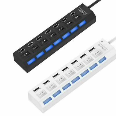 AU13.99 • Buy 7 Port USB 2.0 HUB Powered +High Speed Splitter Extender PC AC Adapter Cable NEW