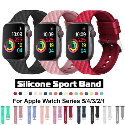 $ CDN5.29 • Buy Soft Silicone Sports Band Strap For Apple Watch 5 4 3 IWatch 40/44 38/42mm Bands