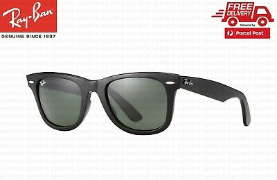 AU124.99 • Buy RayBan Wayfarer Classic Black Sunglasses G-15 Lens RB2140 901 54mm Ray-Ban