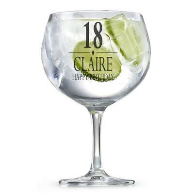 Personalised Birthday Gin Glass Gift 18th, 21st, 30th, 40th, 50th, 60th GIN3 • 11.99£