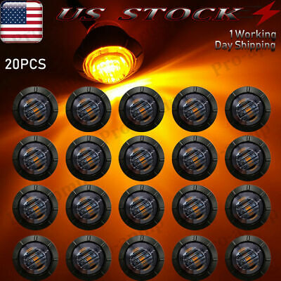 $18.34 • Buy 20X Smoked 3/4 Round LED Clearance Side Marker Light For Truck Trailer RV Amber