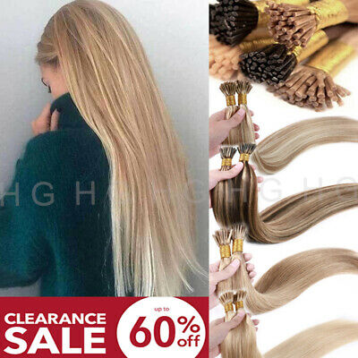 $23.63 • Buy CLEARANCE 100% Remy Hair I Tip Stick Pre-bonded Keratin Human Hair Extensions US