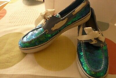 $7.99 • Buy Womens Sperry Turquoise Lace Up Flats Glitter Sequin Sz 7