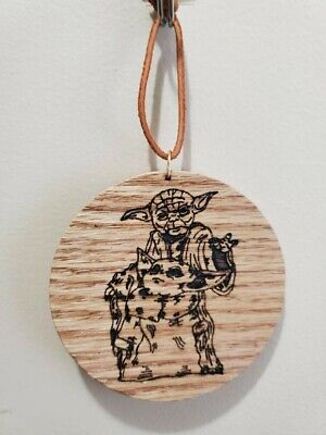 $8 • Buy Laser Burned Image OAK Wood 3  Star Wars Yoda And Baby Yoda 1/4  Thick Ornament