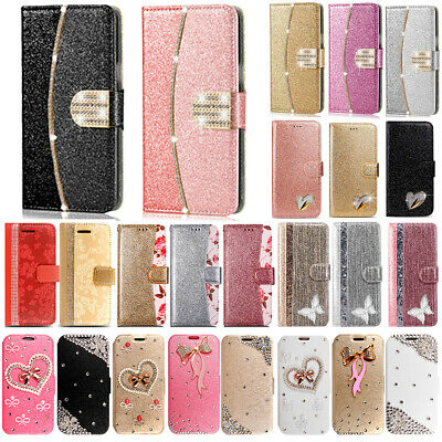 Bling Glitter Crystal Diamond Leather Wallet Flip Phone Case Cover For Samsung • 3.99£