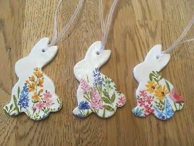 1 Handmade Easter Rabbit Clay Hanging Decorations Decoupage Spring Flower Design • 1.50£