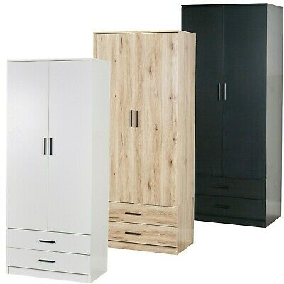 £124.99 • Buy Tall Wooden 2 Door Wardrobe With 2 Drawers Bedroom Storage Hanging Bar Clothes