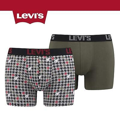 Levis 200SF Houndstooth Print Boxer Short Briefs 2 Pack Olive • 14.99£