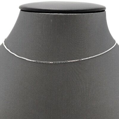 $199 • Buy 14K White Gold 1mm Box Link Pendant Chain Necklace 20