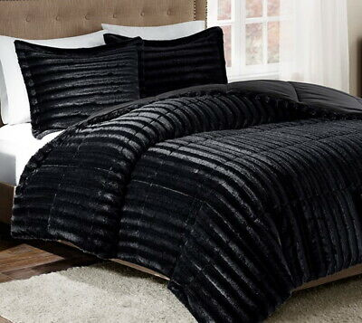 $ CDN120.21 • Buy ULTRA PLUSH BLACK FAUX FUR 3pc COMFORTER SET : LUXURY SOFT MINK SHAG BEAR HUG