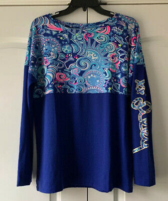 $60 • Buy NWT Lilly Pulitzer Finn Top In Pink Lapis Lazuli Cosmic Kismet Small Free Ship