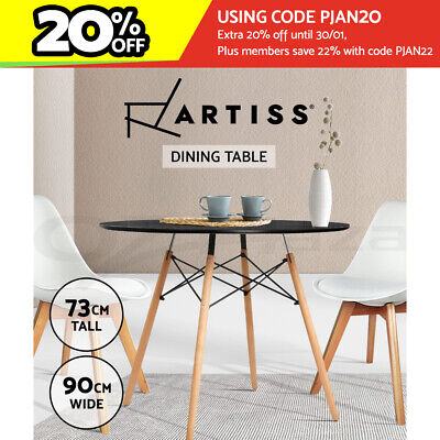 AU159.90 • Buy Artiss Dining Table 4 Seater Round Replica Eames DSW Kitchen Timber Black 90cm