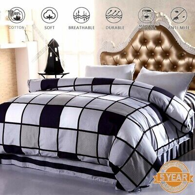 AU32.99 • Buy Checked Duvet Doona Quilt Cover Set Queen King Single Double Size Pillowcase New