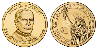 $6.25 • Buy 2013 D William McKinley Presidential One Dollar Coins U.S. Mint Rolls Money