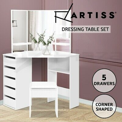 AU184.95 • Buy Artiss Corner Dressing Table With Mirror Stool White Mirrors Makeup Tables Chair
