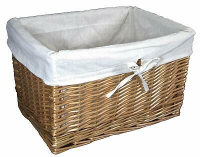 Deep Willow Wicker Basket Storage Natural Colour Removable Lining • 19.95£