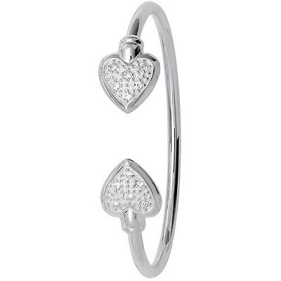 Solid Silver Heart Baby Bangle Torque Christening Gift • 54.95£