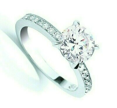 7.5mm Solitaire Engagement Ring Sterling Silver 925 Hallmark British Made • 26.35£