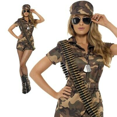 Womens Army Girl Costume Sexy Camo Playsuit Soldier Uniform Fancy Dress Outfit • 24.50£