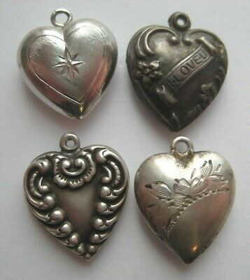 $ CDN13.13 • Buy 1940's-1950's VINTAGE Sterling Silver Puffy HEART Bracelet Charm LOT WWII Era #7