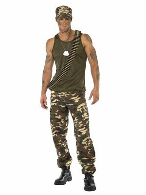 £14.38 • Buy Mens Deluxe Army Soldier Squaddie Marine Core Costume Camo Vest Trousers Stag