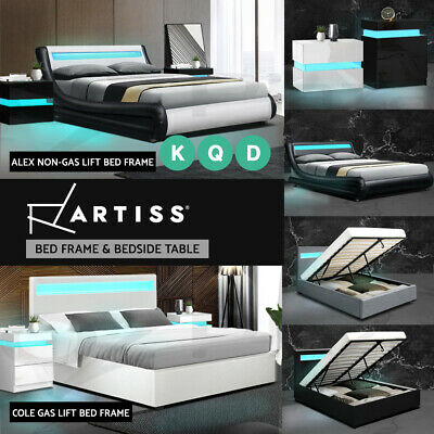 AU369 • Buy Artiss Bed Frame RGB LED Bedside Tables Double Queen Size Gas Lift Base Storage