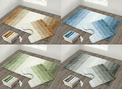 Luxury Super Soft Non Slip Ombre Striped Bath Rug Pedestal Mat Super Absorbent • 10.99£