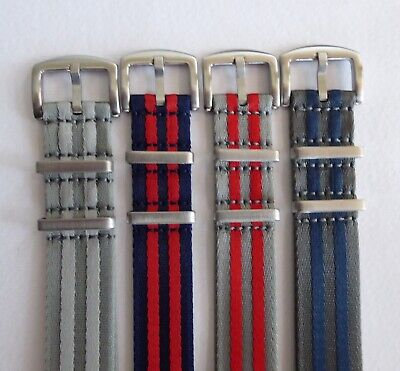 Heavy Duty Striped Nato Watch Straps 20 & 22mm For Omega/tudor - Grey/red/blue • 9.99£