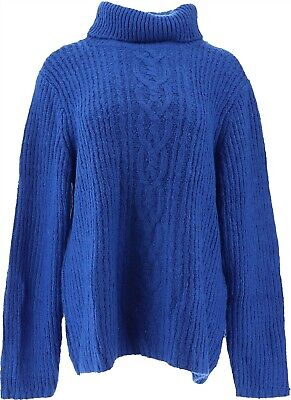$39.98 • Buy GILI Cable Knit Turtle Neck Sweater Cobalt L NEW A311406