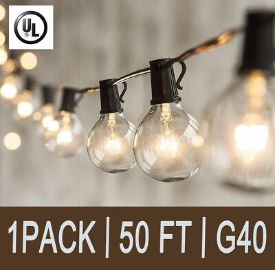 UK 50FT Outdoor Festoon Globe String Fairy Lights G40 Bulbs Garden Wedding Home • 25.59£