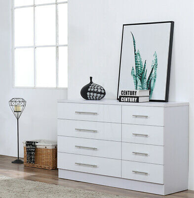 White High Gloss 8 Drawer Sideboard / Cupboard / Buffet Solo / Chest Of Drawers • 123.95£
