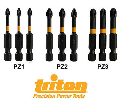 Triton High Torque Impact Drill Pozi Drive Screwdriver Bits 50mm / 2  Pack Of 3 • 3.35£