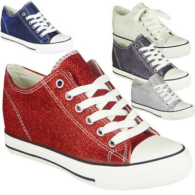 Womens Wedge Trainers Ladies Glitter Sneakers Lace Up Hidden Heel Pumps Shoes • 13.99£