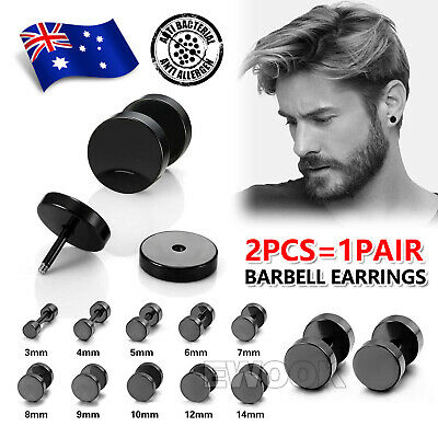 AU3.95 • Buy 2Pcs Black Men's Round Barbell Punk Stainless Steel Ear Studs Earrings