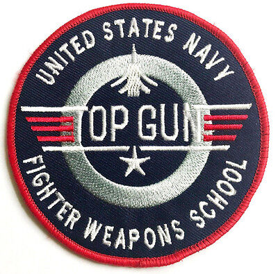 £3.50 • Buy EMBROIDERED TOP GUN PATCH Iron On Cloth Badge Tom Cruise MAVERICK US Fighter Jet