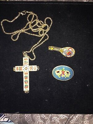$ CDN23.48 • Buy VINTAGE JEWELRY Lot Of 2 MICRO MOSAIC Pins,, Cross Necklace