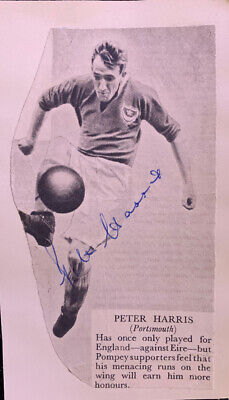 Signed Peter Harris Portsmouth FC Football Autograph 1950s England • 6.99£