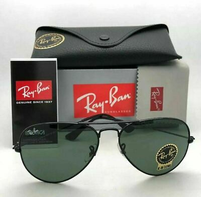 AU99.99 • Buy Authentic Ray Ban Sunglasses RB3025 L2823 58mm Aviator Black Frame Green Lens