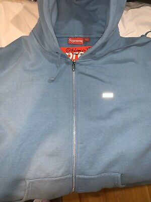 $ CDN240.59 • Buy Supreme Reflective Small Box Zip Up Sweatshirt Hoodie Size XL Dusty Blue FW18