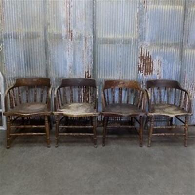 $299 • Buy Set Of 4 Victorian Wooden Captains Chairs, Spindle Stick Barrel Dining Chairs