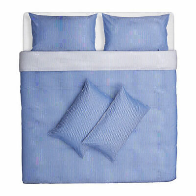 Ikea Rodnarv Blue/White Stripe DOUBLE Duvet Cover And 4 X Pillowcase Set NEW • 29.99£