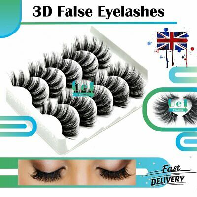 1 / 5 Pairs 3D Fake Eye Lashes Soft Mink False Eyelashes Wispy Cross Long Thick • 2.60£