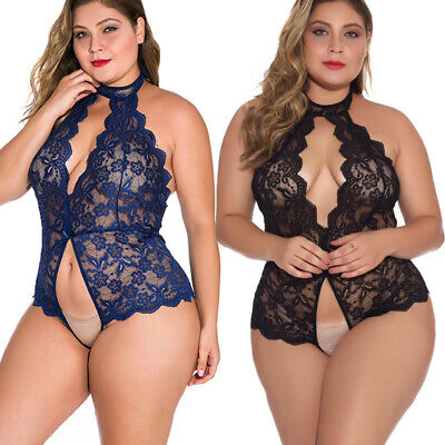 $10.89 • Buy Plus Size Sexy Lingerie Lace One-Piece Womens Teddy Crothless Bodysuit US FAST