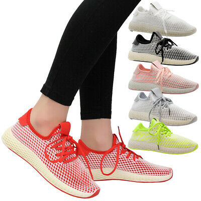 Ladies Lace Up Women Mesh Sports Gym Walking Sneaker Running Trainers Shoes Size • 14.99£