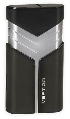 Vertigo  Tron  Butane Lighter, Black, Twin Torch Flame, Fold Out Cigar Punch • 12.78£