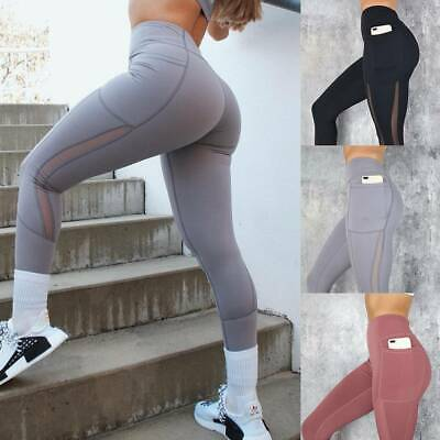 AU15.99 • Buy Women's High Waist Yoga Pants Pocket Leggings Sports Fitness Workout Trousers A