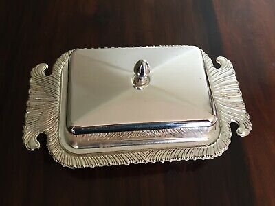 Silver Plated/chrome Lidded Butter Dish • 4£