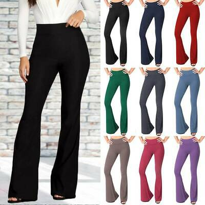 AU17.99 • Buy Women's Cotton Solid Yoga Pants Leggings Flared Bootcut Bell Bottom Foldover A76