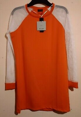 Vila City Orange Long Sleeve Tunic Shirt T Top White Net Sleeves M Bnwt Rrp £35  • 24.99£