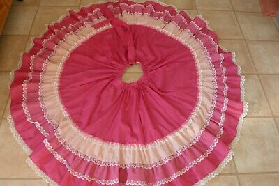 $15.99 • Buy Vtg Full Circle Skirt Square Dance With Belt Pink Lace & Ribbon Elastic Waist